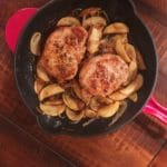 Easy pork chop recipe for two - a little sweetness from the apples and maple syrup. Perfect, comforting, winter meal. Recipe at KathleensCravings.com