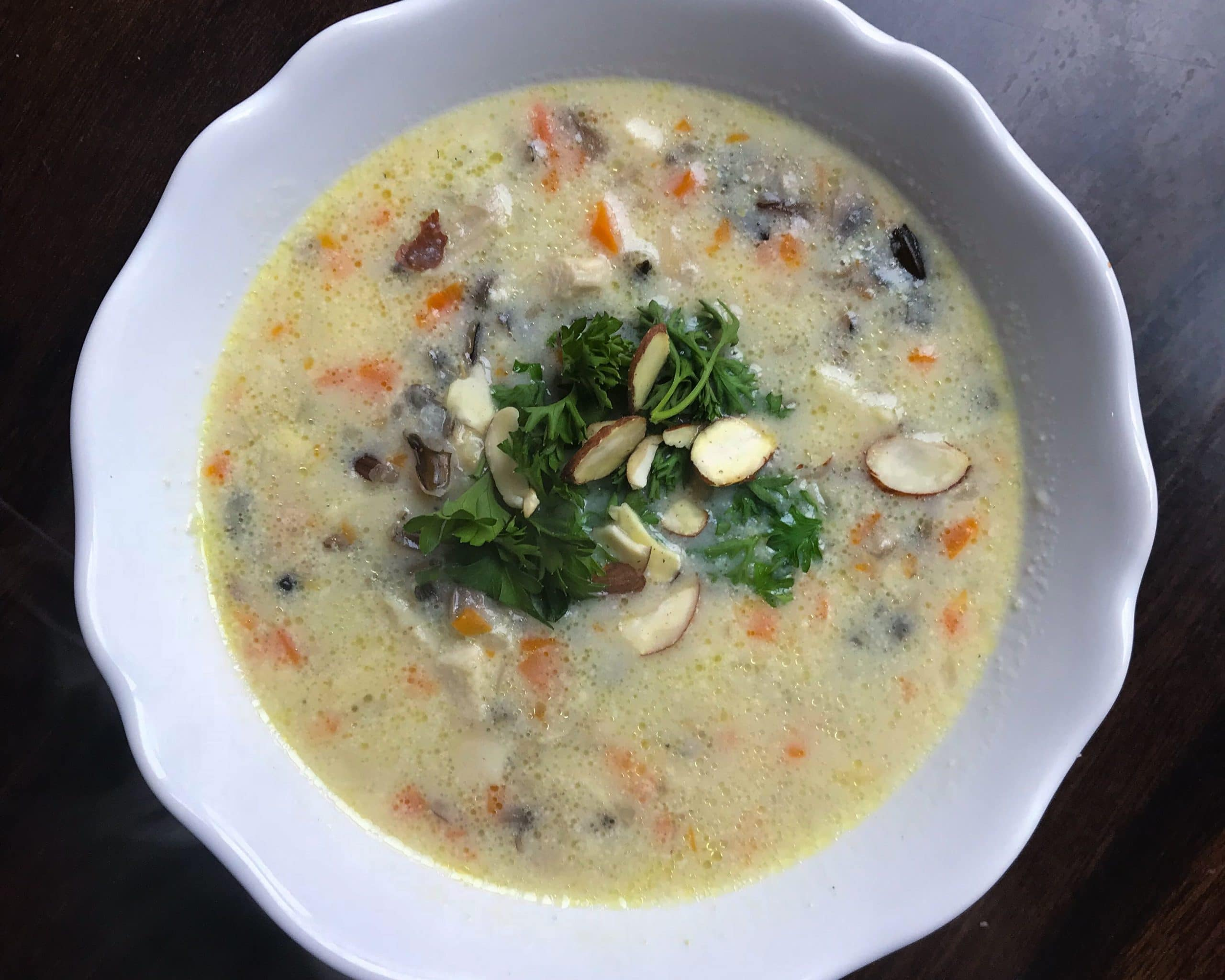 Creamy chicken wild rice soup. Kathleenscravings.com
