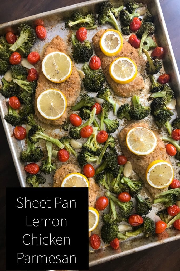 Sheet Pan Lemon Chicken Parmesan - a fresh twist on an Italian classic. Made on a sheet pan makes for easy clean up. Kathleenscravings.com