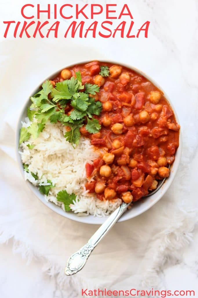 Chickpea Tikka Masala with text overlay