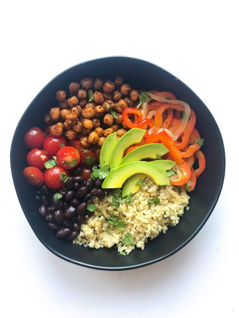 Vegan chickpea burrito bowls for meal prep