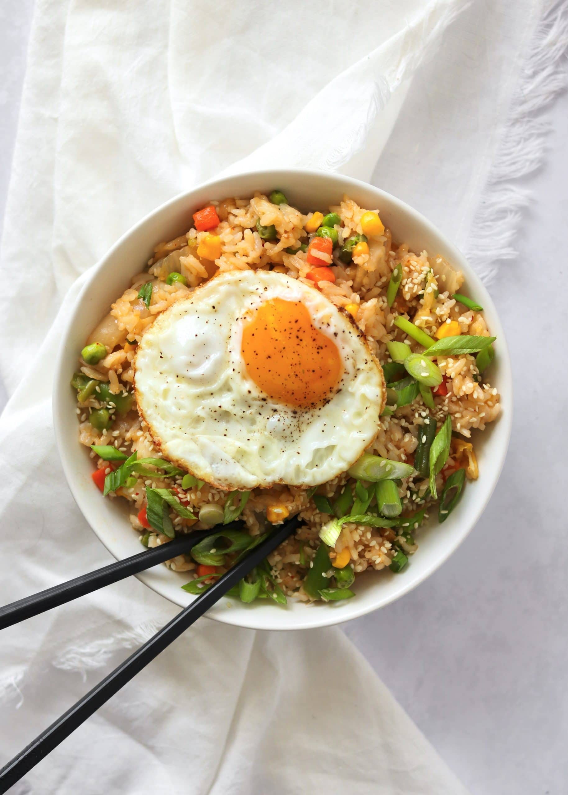 Kimchi fried rice with fried egg on top