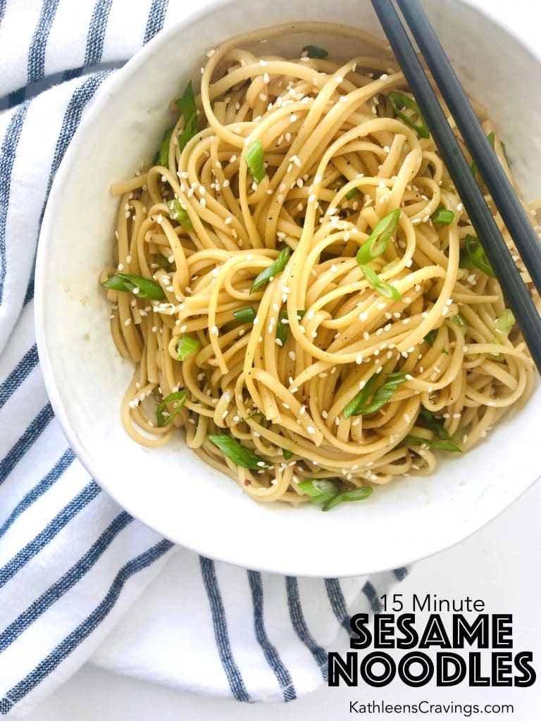 These easy sesame noodles take just 15 minutes to make. Whisk up the simple, pantry ingredient, sauce that is filled with Asian flavors. Perfect weeknight meal. Recipe at KathleensCravings.com #takeoutfakout #15minutemeal #easydinner #meatlessmonday