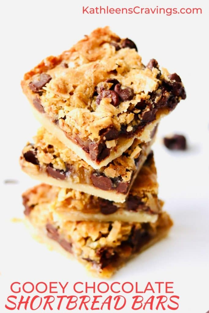 Gooey Chocolate Shortbread Bars with text