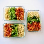 Spicy Tomato Chickpeas with Quinoa are meal prep friendly, vegan, gluten-free, dairy-free, but still packed with protein. Great eaten cold and reheats well, this is your solution to busy weekday lunches. And the kick from the pepper flakes make it anything but boring. Recipe at KathleensCravings.com #kathleenscravings #spicychickpeabowls #chickpeabowls #veganmealprep #healthymealprep #meatlessmealprep #chickpearecipes