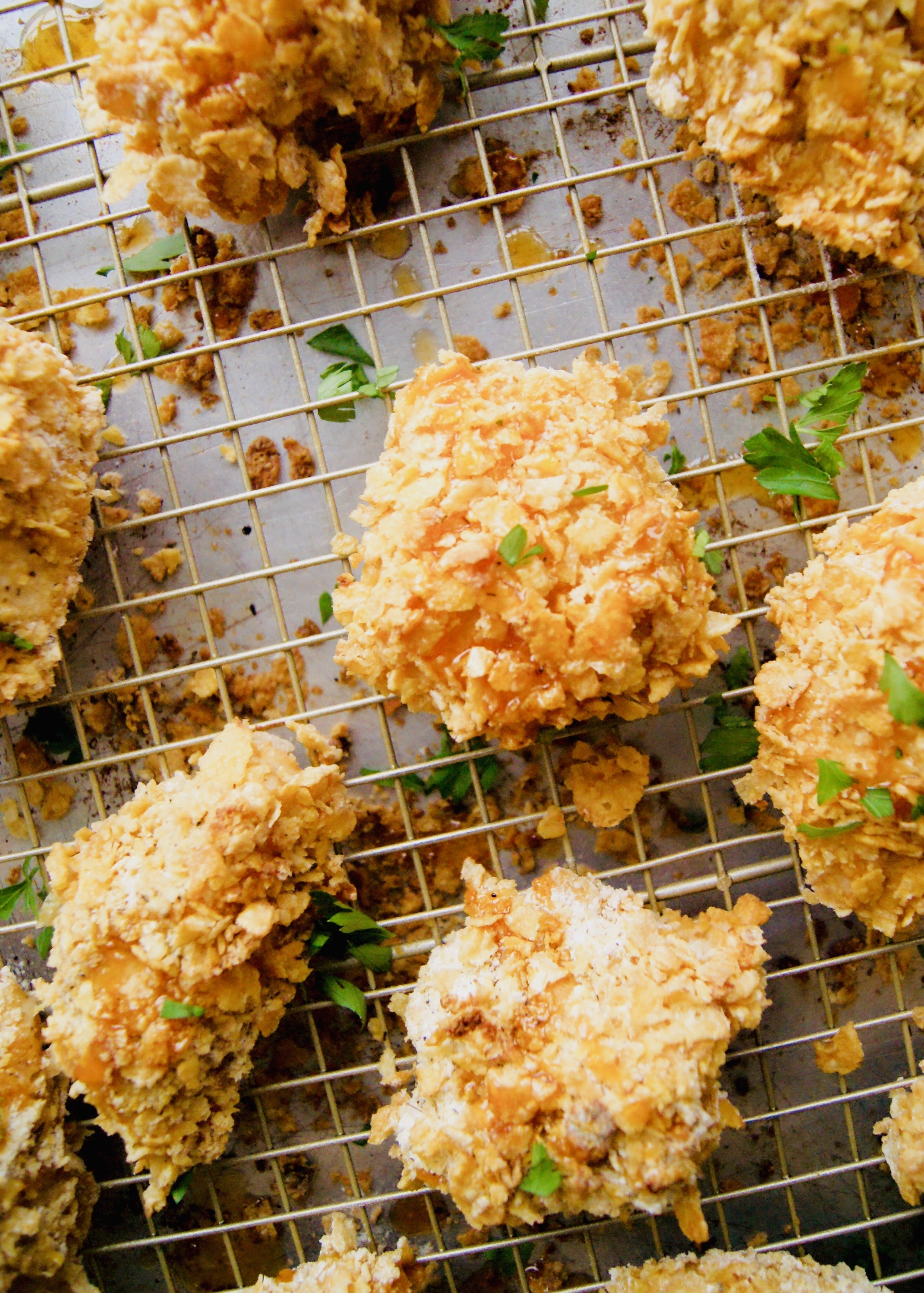 "data-pin-description=""Crispy and made healthier, this Oven Fried Hot Honey Chicken is stuff of dreams. Breaded in cornflakes to make it crisp and crunchy. Recipe at KathleensCravings.com #healthy #easyrecipe #chickenbreast #friedchicken"""