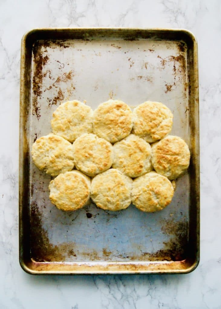 Golden brown baked biscuits on a sheet pan