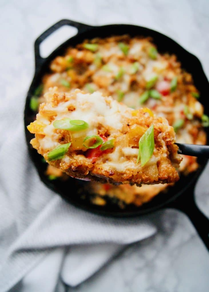 Close-up-of-fajita-chicken-quinoa-bake
