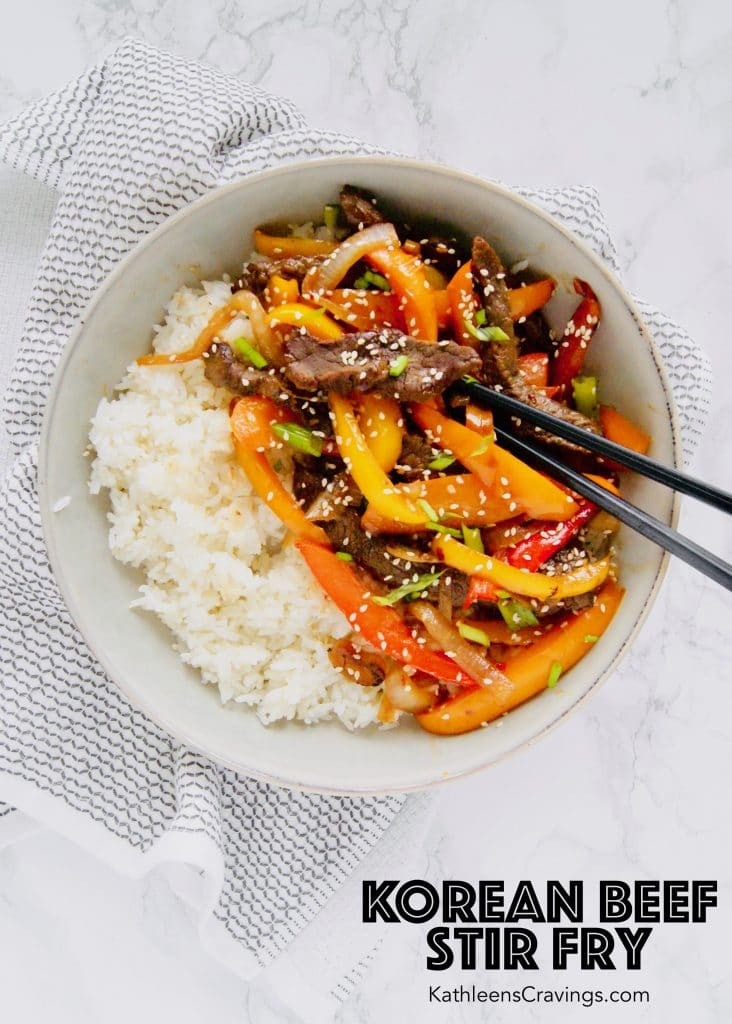 Korean stir fried beef, peppers and onions with white rice