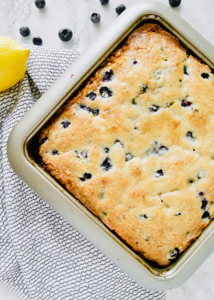 Lemon Blueberry Breakfast Cake made with buttermilk