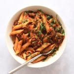 Instant Pot Pasta with meat sauce in a bowl