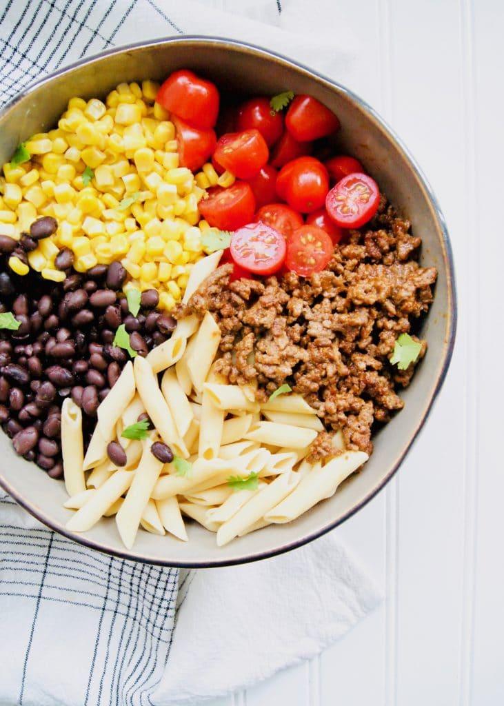 Healthy-Taco-Pasta-Salad-Ingredients
