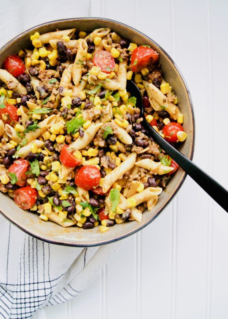 Healthy-Taco-Pasta-Salad-in-serving-bowl