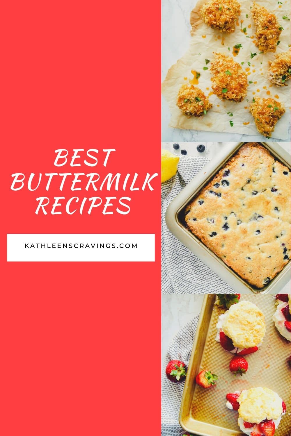 Looking for a recipe to use up the buttermilk in your fridge? What is buttermilk and how can we use it? The best recipes using buttermilk. KathleensCravings.com #buttermilk #buttermilkrecipes #easyrecipes #diybuttermilk