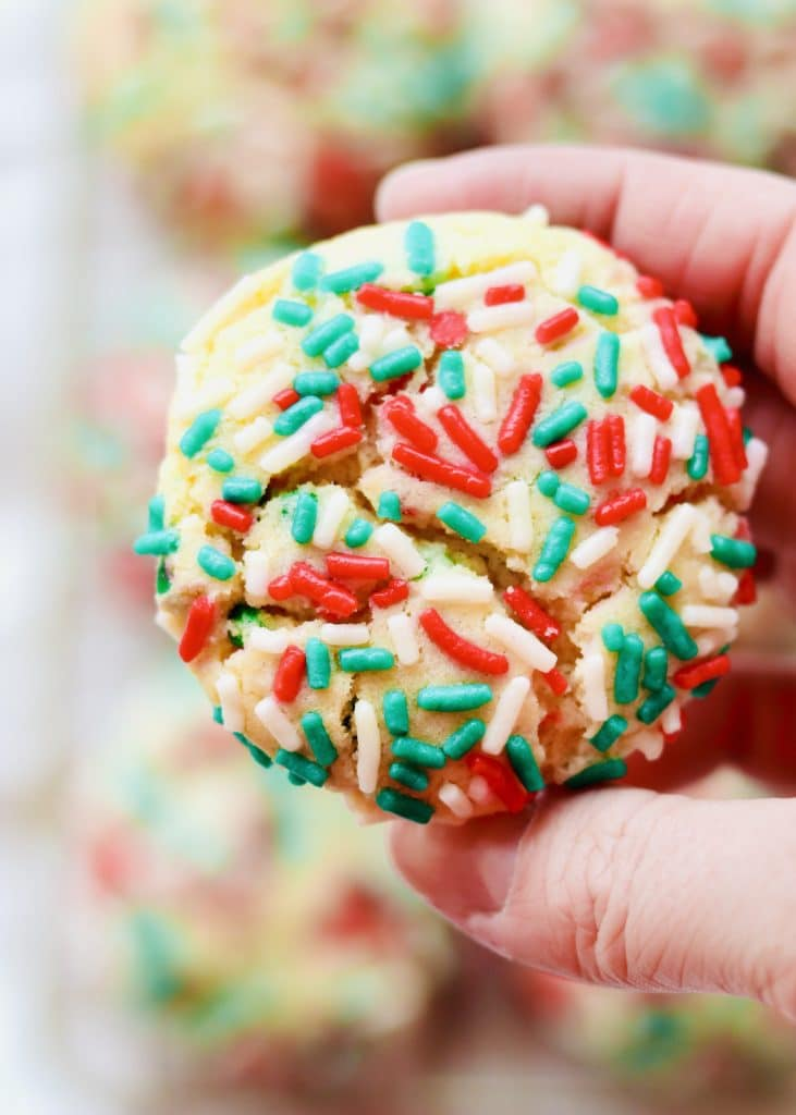 Close up of a christmas sprinkle drop sugar cookie