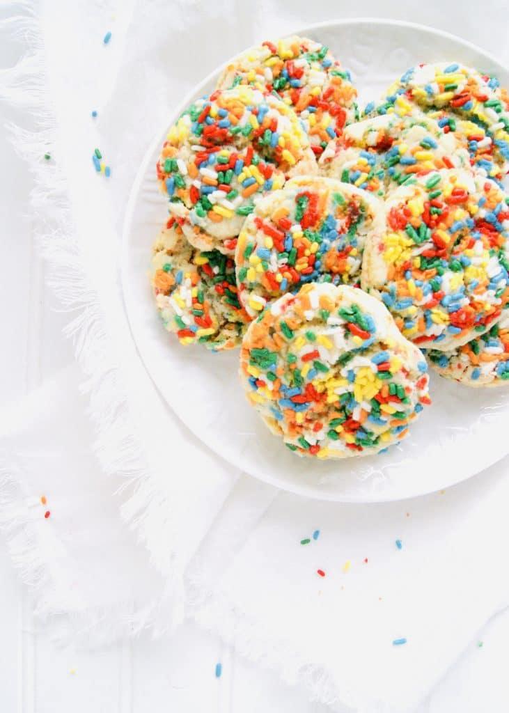 Sprinkle Drop Sugar Cookies on Plate