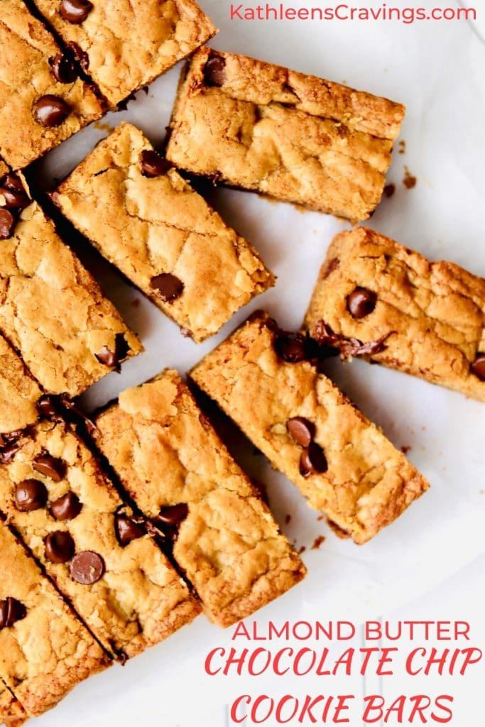 Almond Butter Chocolate Chip Cookie Bars with text