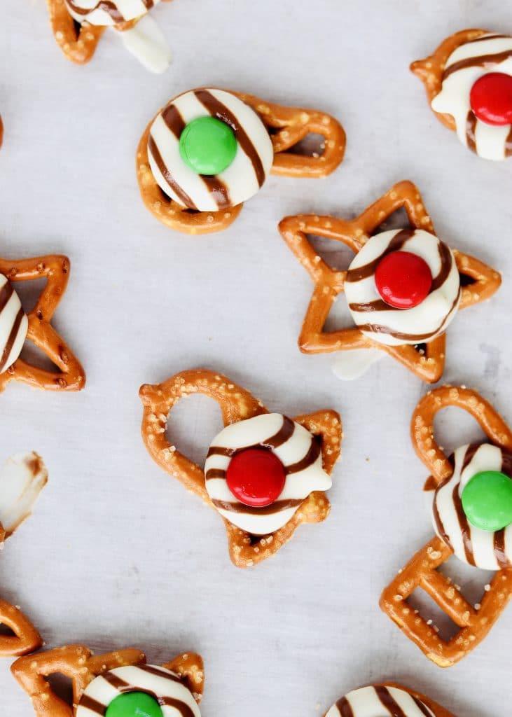 Close up christmas pretzel hugs