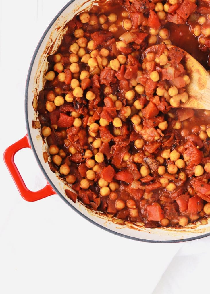 Moroccan Chickpeas with tomatoes in skillet