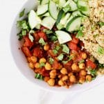Moroccan Chickpea Bowls are perfect for your healthy eating goals. Plant based protein, clean ingredients, perfect for meatless Monday, easily made vegan, and made in just 30 minutes. Recipe at KathleensCravings.com #KathleensCravings #meatlessmonday #plantbased #cleaneating #vegetarian #vegan #chickpeas #quinoa