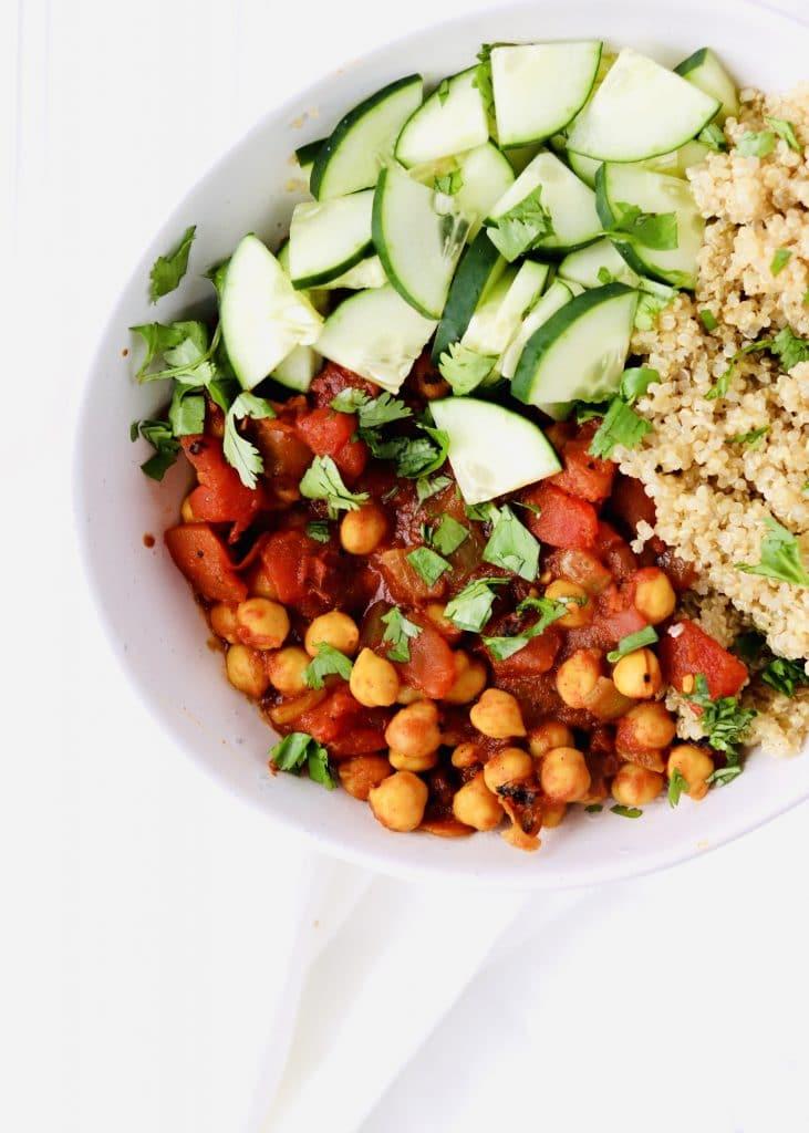 Moroccan chickpea quinoa bowl