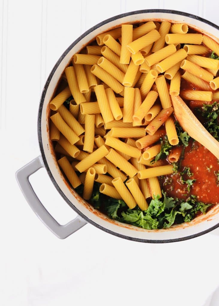 One Pot spicy pasta ingredients in dutch oven