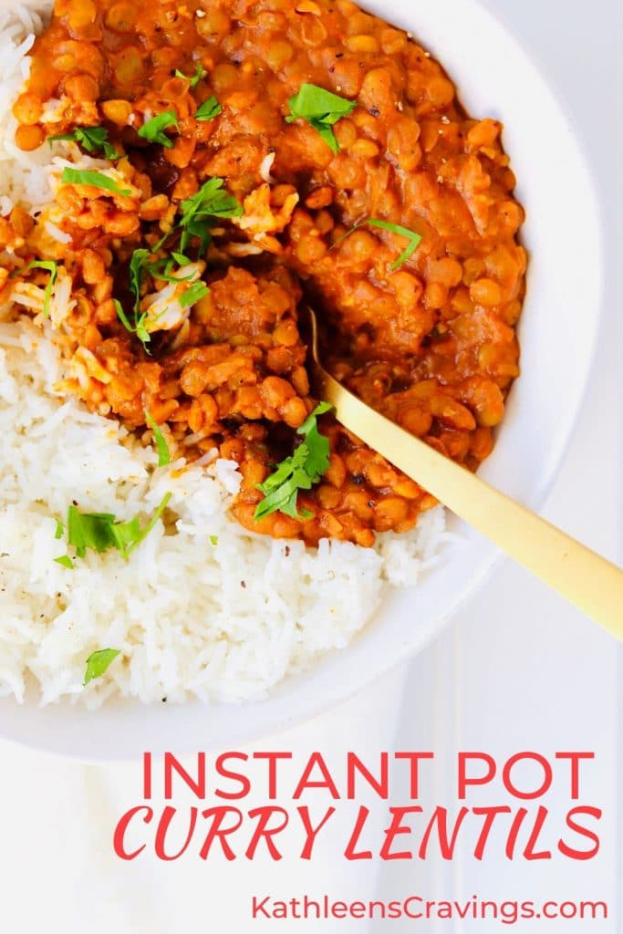 Instant Pot Curry Lentils with rice