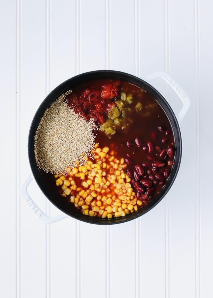 Vegan Quinoa chili ingredients in dutch oven