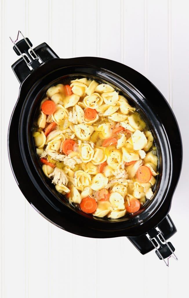 Chicken Tortellini Soup in slow cooker