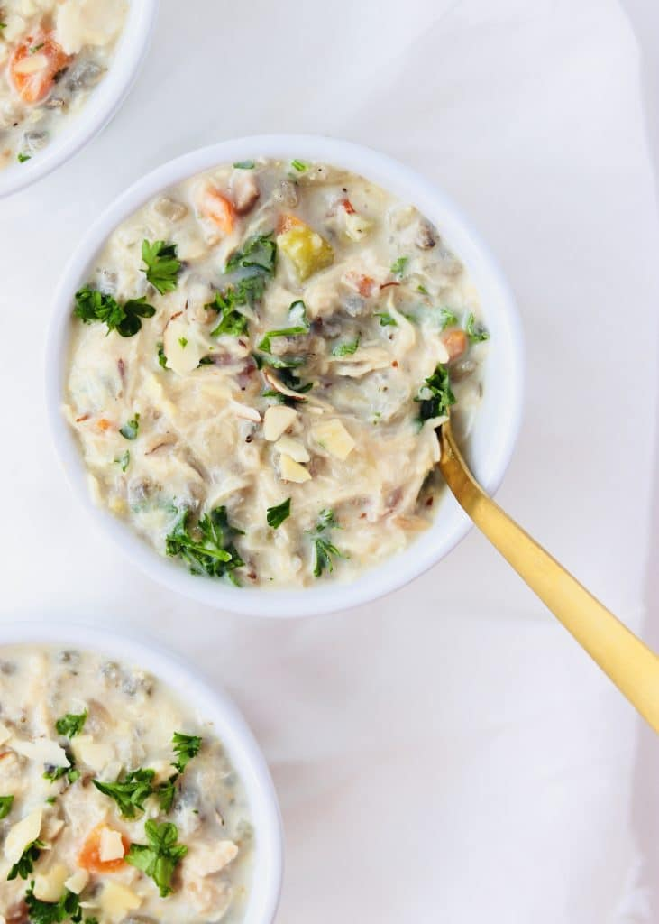 Chicken Wild Rice Soup in bowls with spoon
