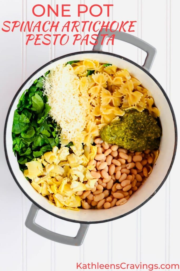 One Pot Spinach Artichoke Pesto Pasta ingredients with text