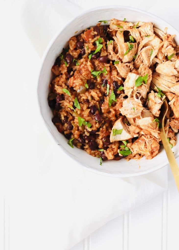 Instant Pot Salsa Chicken and Rice in a bowl