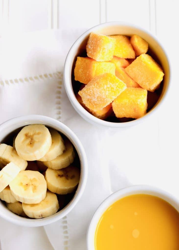 Mango, banana, and orange juice