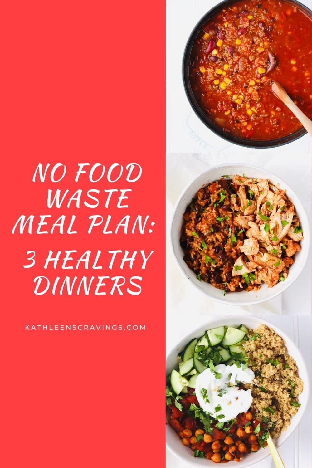 No Food Waste Meal Plans allow you to make delicious, everyday recipes without worrying about leftover ingredients. One Master Grocery List to help you Shop Smarter. 3 Healthy Dinners: Instant Pot Salsa Chicken and Rice, Moroccan Chickpea Bowls, and Vegan Quinoa Chili.