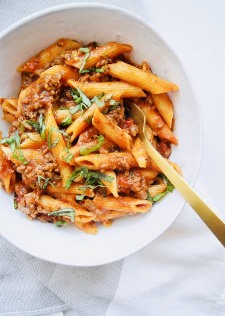 Instant Pot Penne Bolognese in bowl