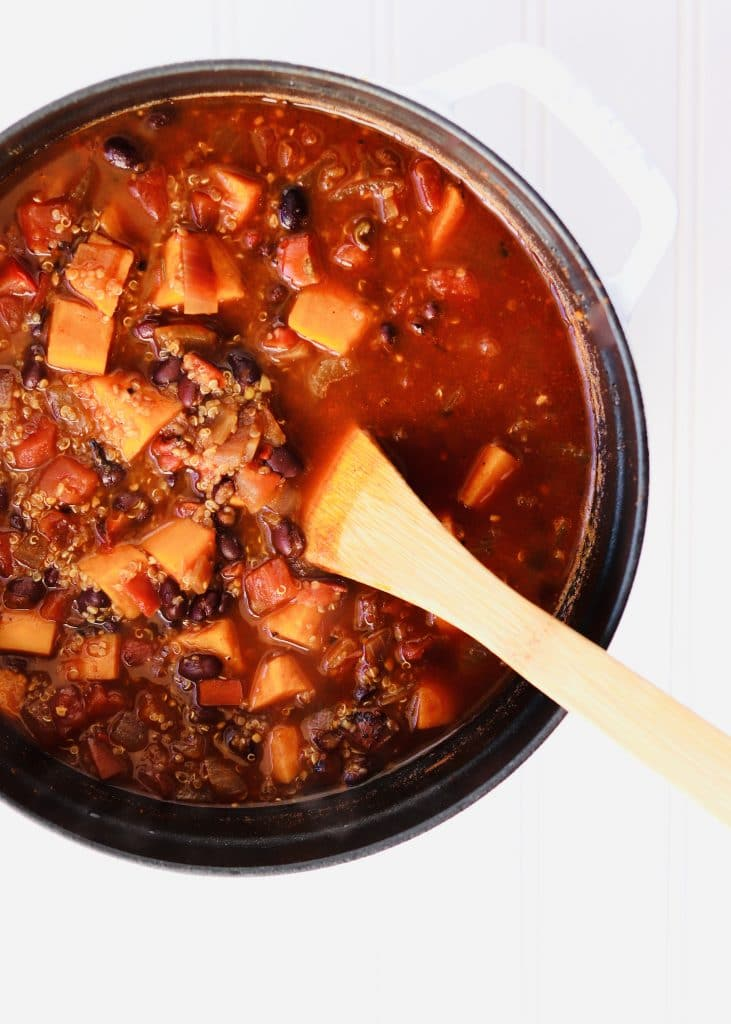 Sweet Potato Black Bean Chili in dutch oven