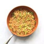 Garlic sesame ramen noodles in skillet