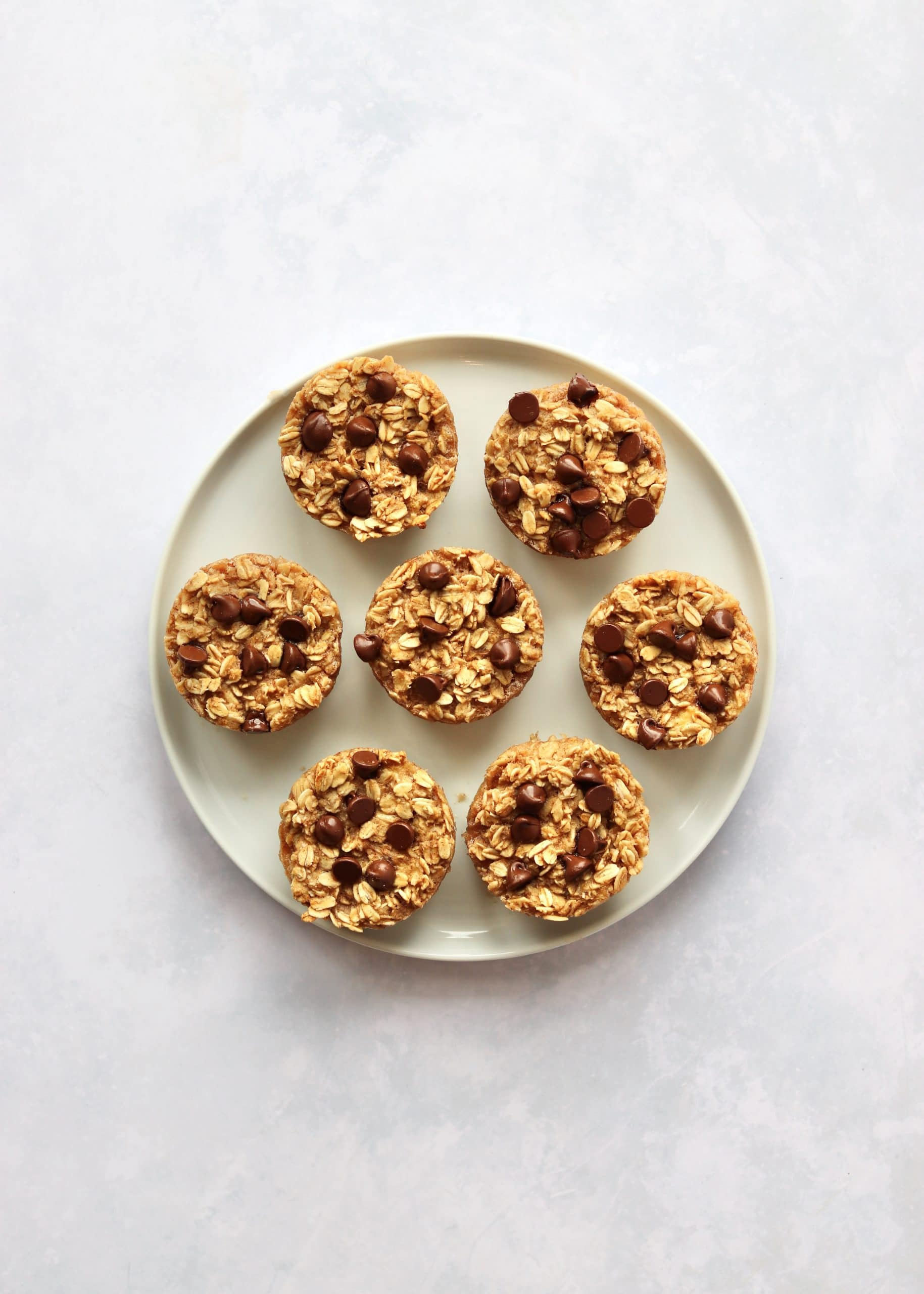 Baked banana oatmeal cups on plate