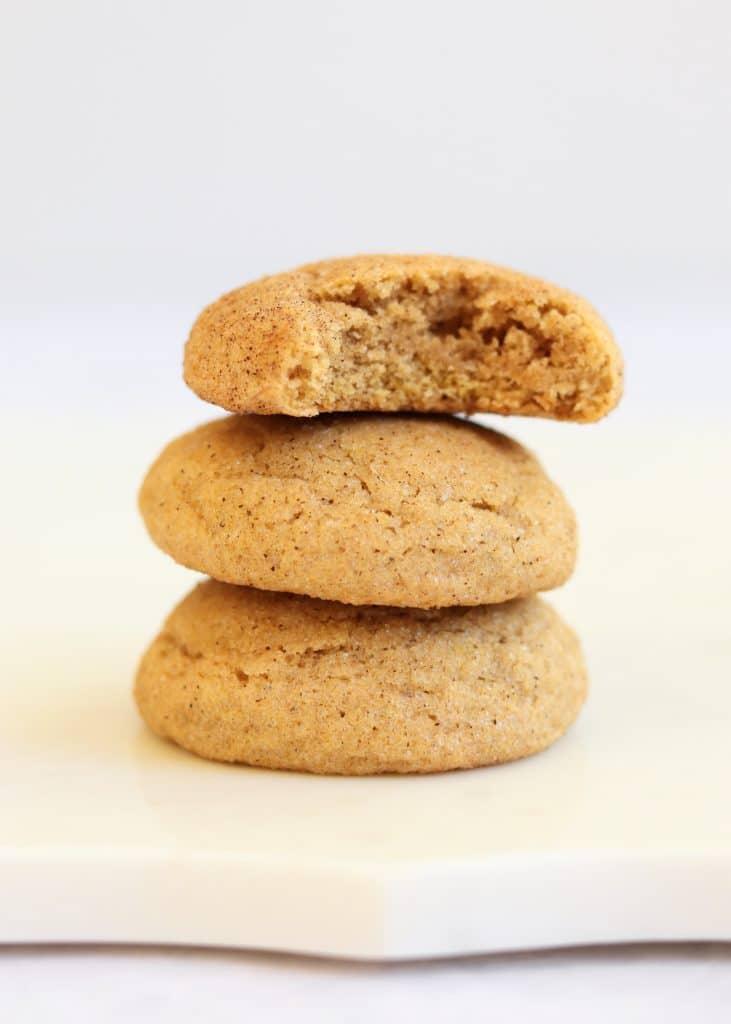 Stack of pumpkin snickerdoodle cookies