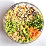 Ramen Noodle Salad ingredients in glass bowl