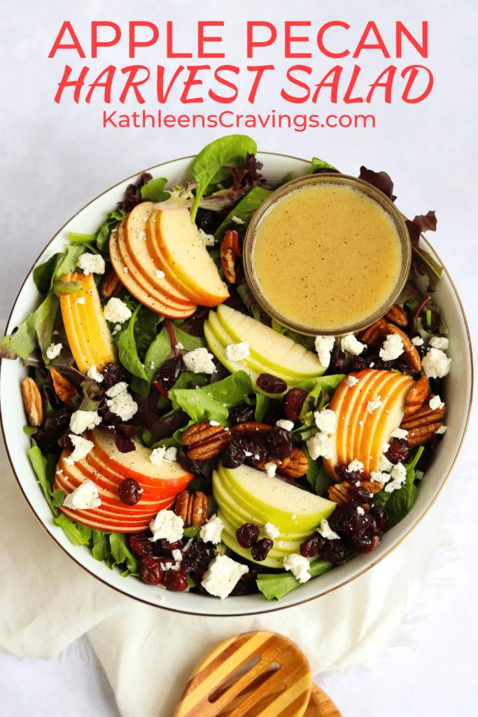 Harvest salad with apple cider vinaigrette in a large bowl