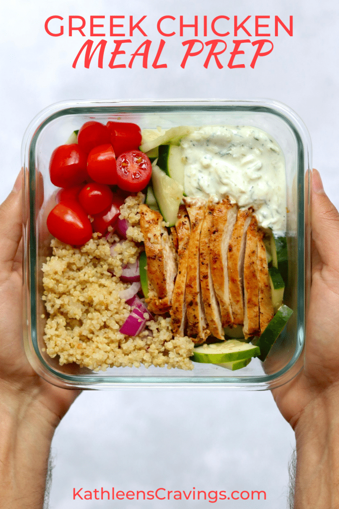 Hands holding glass meal prep container