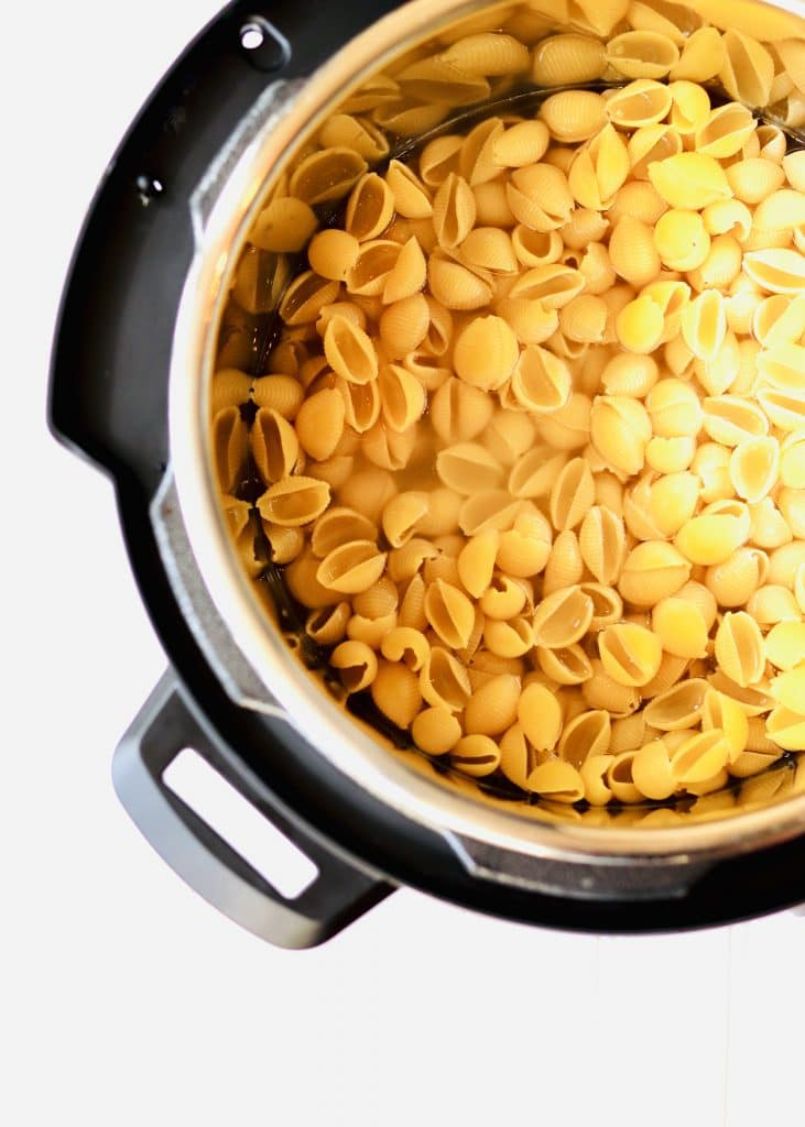 Elbow macaroni noodles in pressure cooker