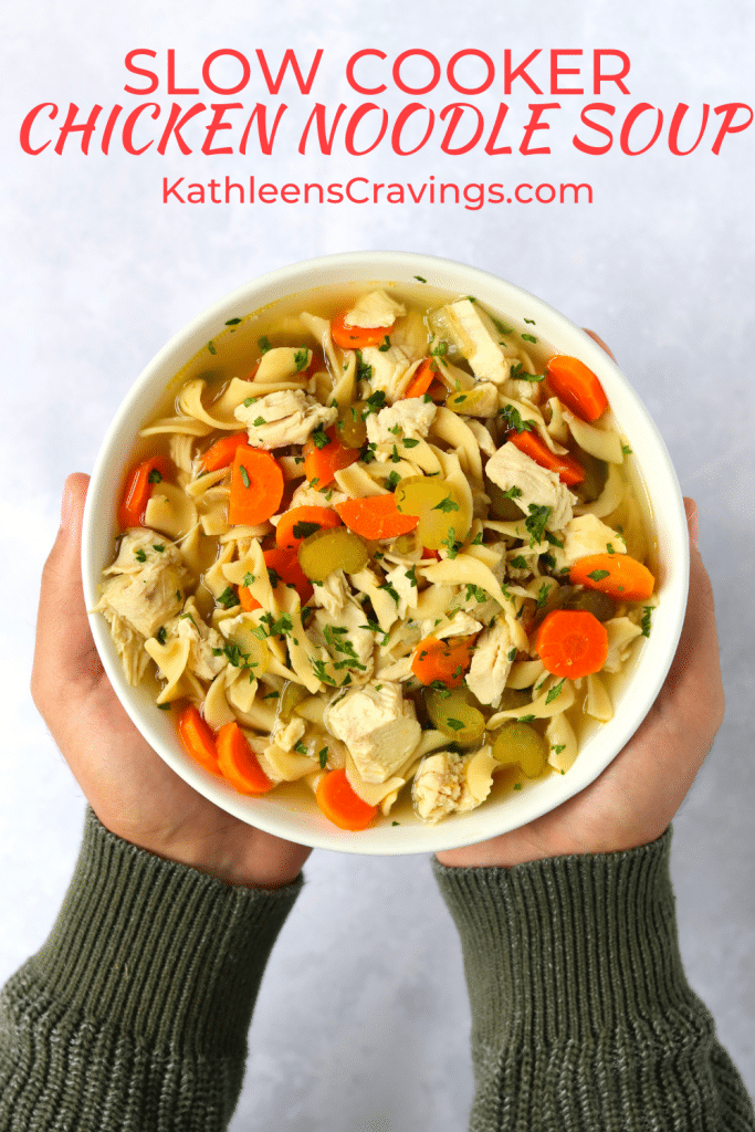 Hands holding bowl of chicken noodle soup