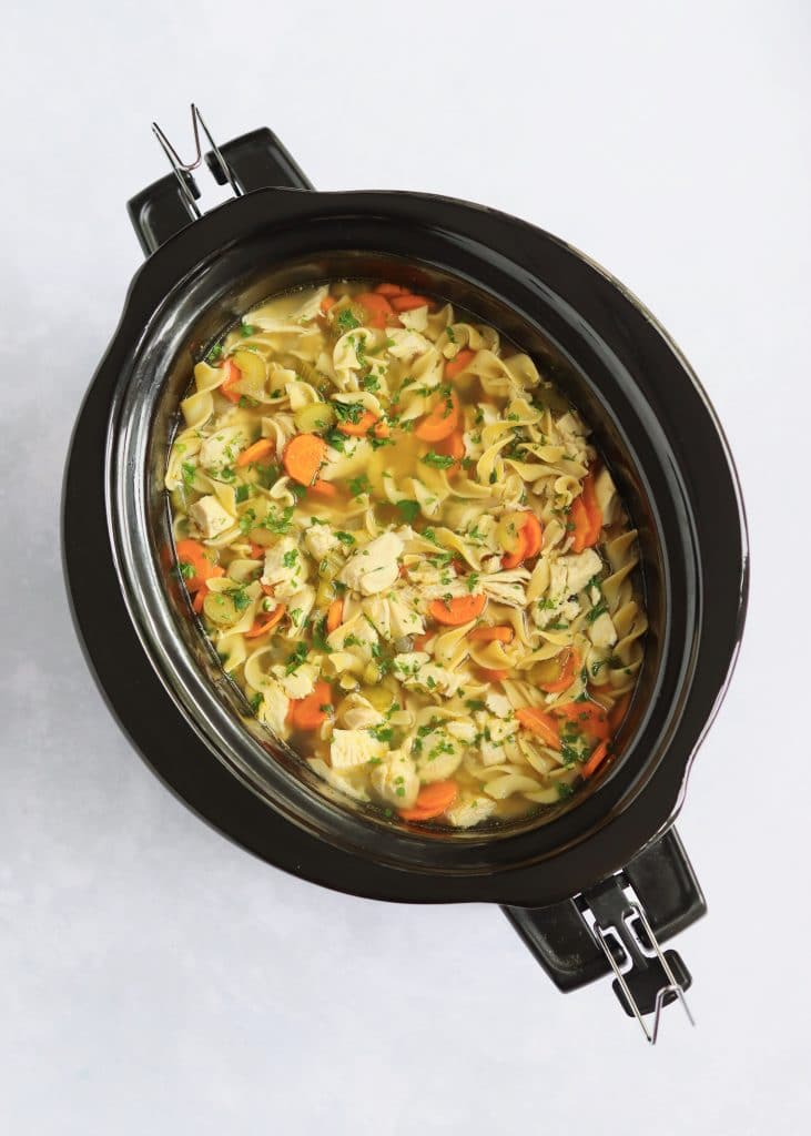 Finished Slow Cooker Chicken Noodle Soup
