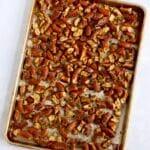 seasoned pretzels on sheet pan