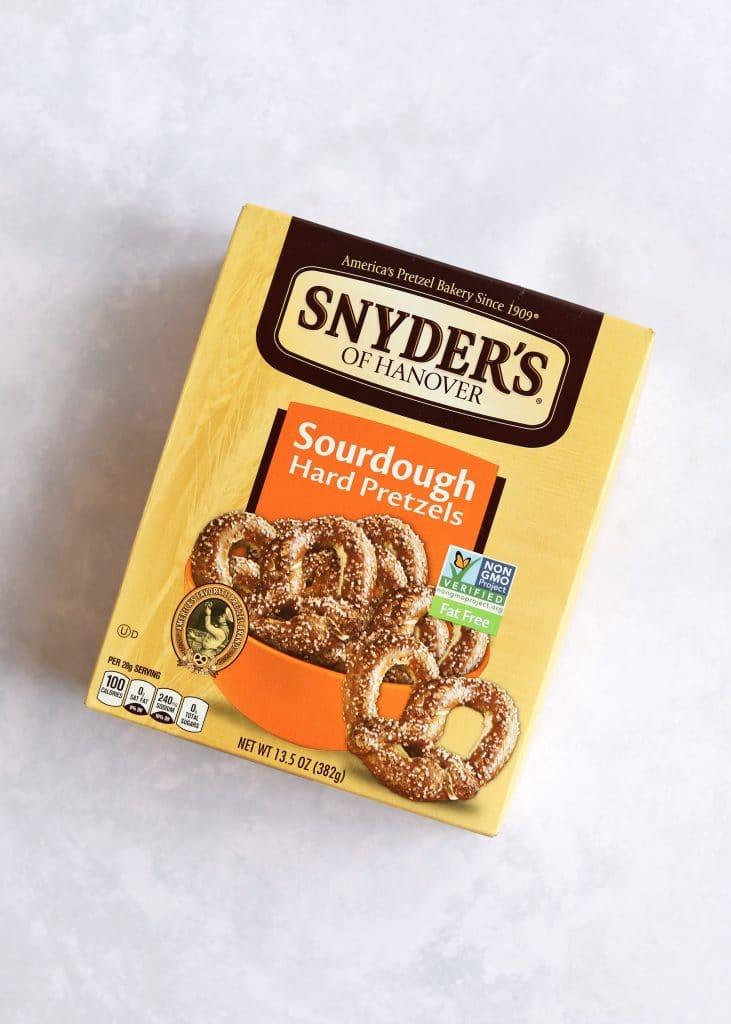 Box of Snyders sourdough pretzels