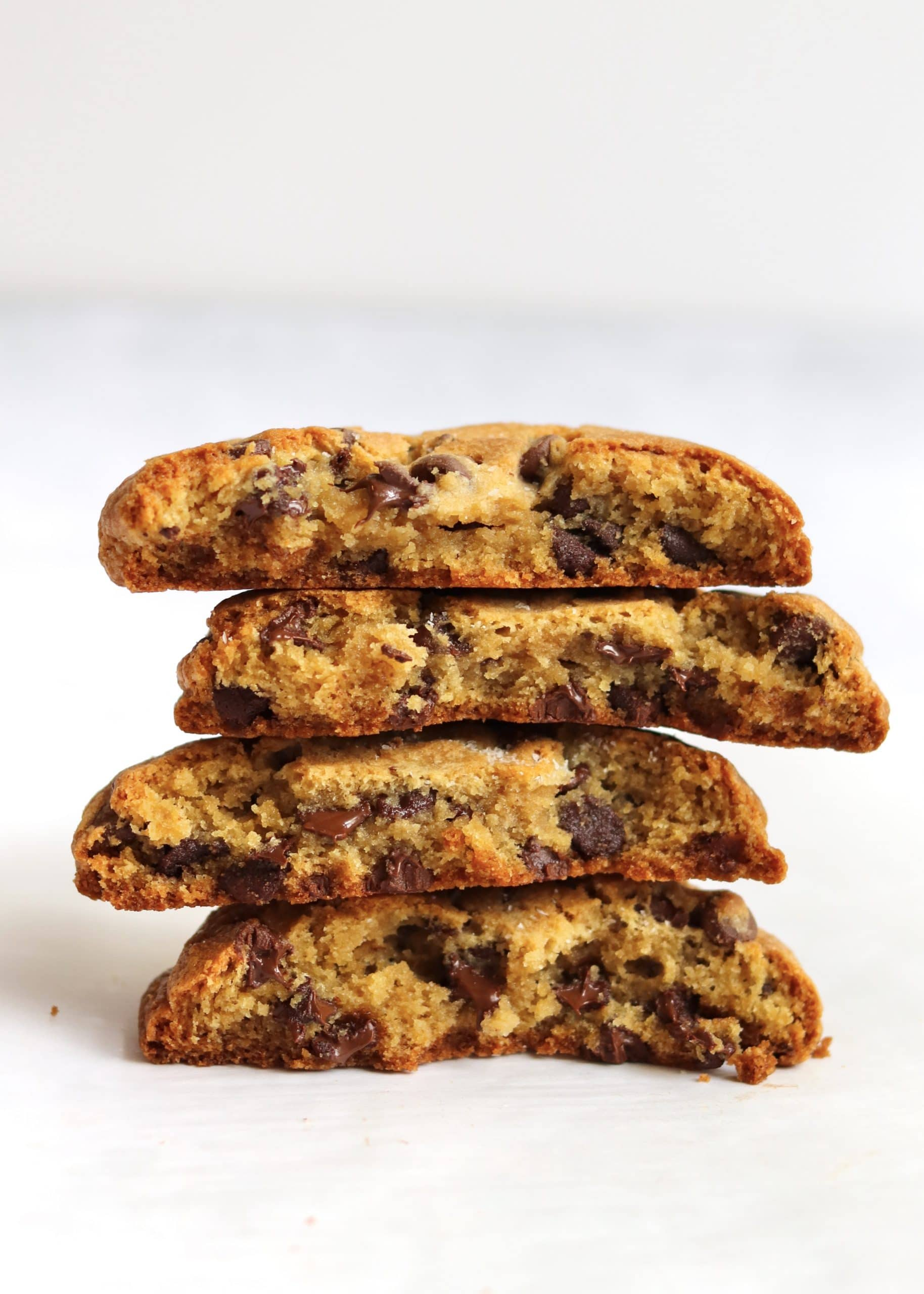 Stack of thick chocolate chip cookies