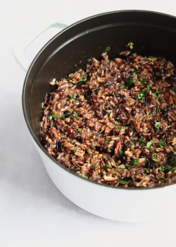 Cranberry wild rice pilaf in an enameled cast iron Dutch Oven