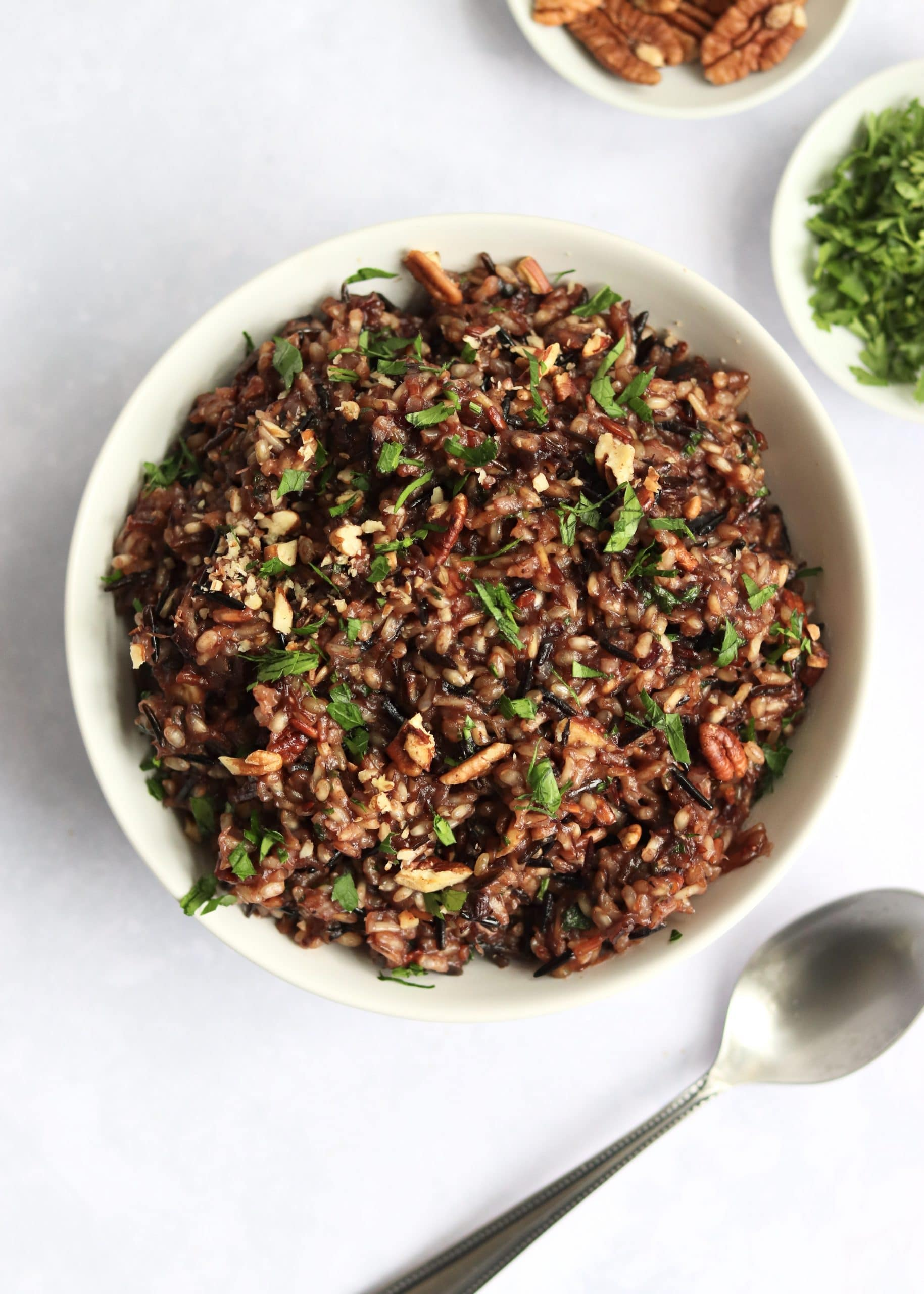Cranberry wild rice pilaf in serving bowl